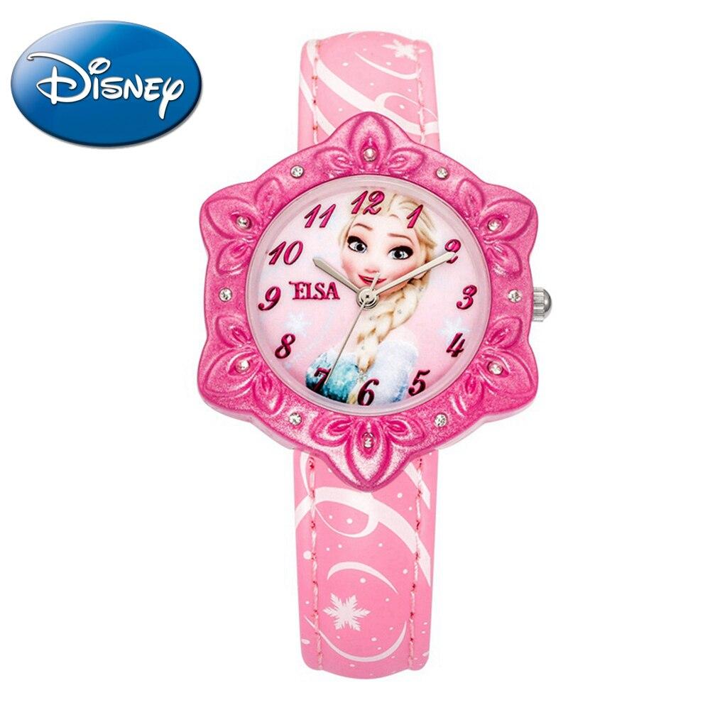 Original Frozen Elsa Princess Kids Bling Rhinestone Child Sweet Candy Nice Dream Snow Well PU Band Watch Disney Blue Pink Hour