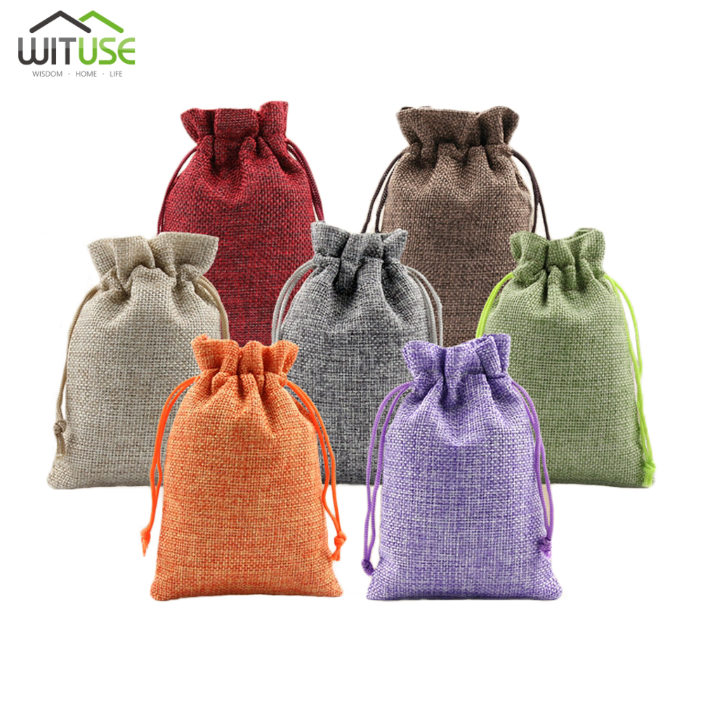 New 7x9 10x14 13x18cm Linen Jute Drawstring Gift Bags Sacks Party Favors Packaging Bag Wedding Candy Gift Bags Party Supplies