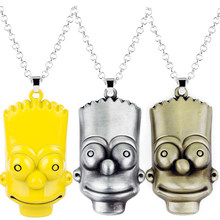 Classic Comic Anime Jewelry Cartoon Figure Toys Bart Simpson Necklace Trinket Pendant Men Women's Necklaces Long Chain Charm(China)