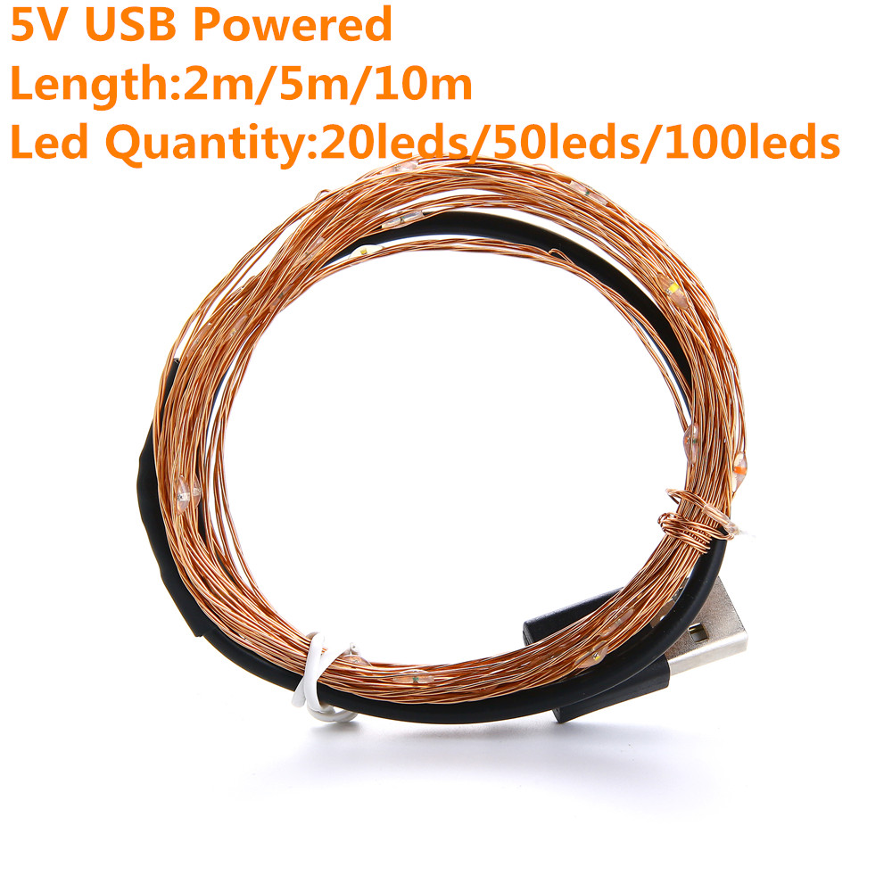 2M 5M10M Strip Light Led String Light Cooper Wire 3AA battery Christmas Light For Garland Holiday Fairy Wedding Party Decoration 2