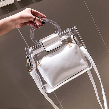 Woman Bag Handbag 2PC Jelly Transparent Messenger 2019 New Portable Shoulder bolso mujer torebka damska shopper sac main femme фото