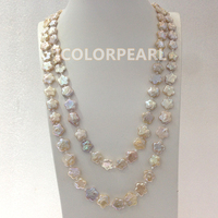 WEICOLOR Best Gift For Girls! 130cm Long Flower Shaped Real Natural Freshwater Pearl And Crystal Opera Necklace