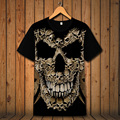 3d skull print t-shirt male short-sleeve fashion motorcycle clothes 3d designs flame skull ghost tshirt tops