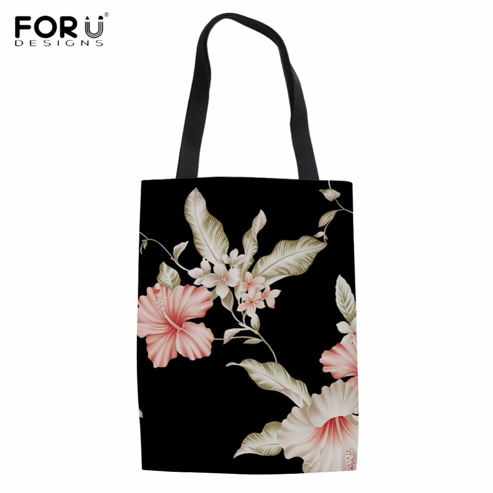 1ebd140fca FORUDESIGNS Pretty Retro Floral Print Woman Linen Shopping Tote Bags  Vintage Design Female Cloth Bag Reusable Friendly Eco Bags