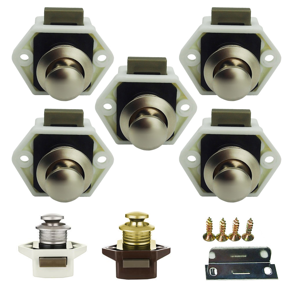 5 pcs Mini Push Button Catch cupboard pop up knob camper lock handle latch LB88