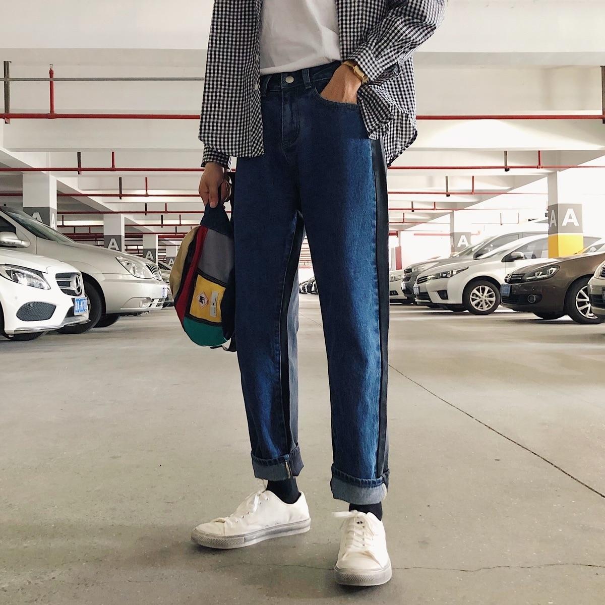 2018 men classic style spelling color loose jeans blue. Black Bedroom Furniture Sets. Home Design Ideas