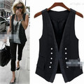 European black Double breasted Button Formal Long vest casaco feminino suit women vest blazers