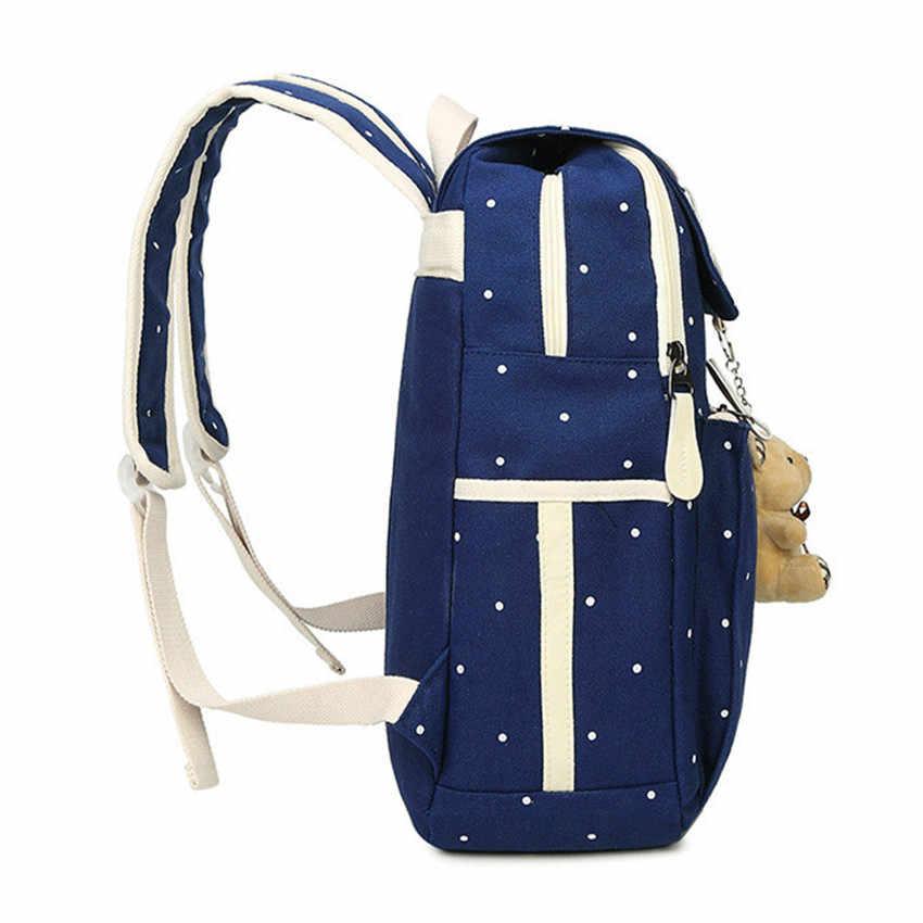 Sacos De escola para Adolescentes Meninas Mulheres dot impressão Mochila Das Senhoras saco de ombro Da Lona Feminino Mochila laptop mochila mochila