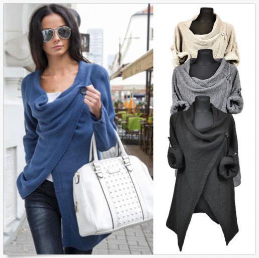 New Fashion Autumn Winter Irregular Collar Women Casual Solid Sweaters Pullovers Long Sleeve O Neck Knitted Blouse Tops