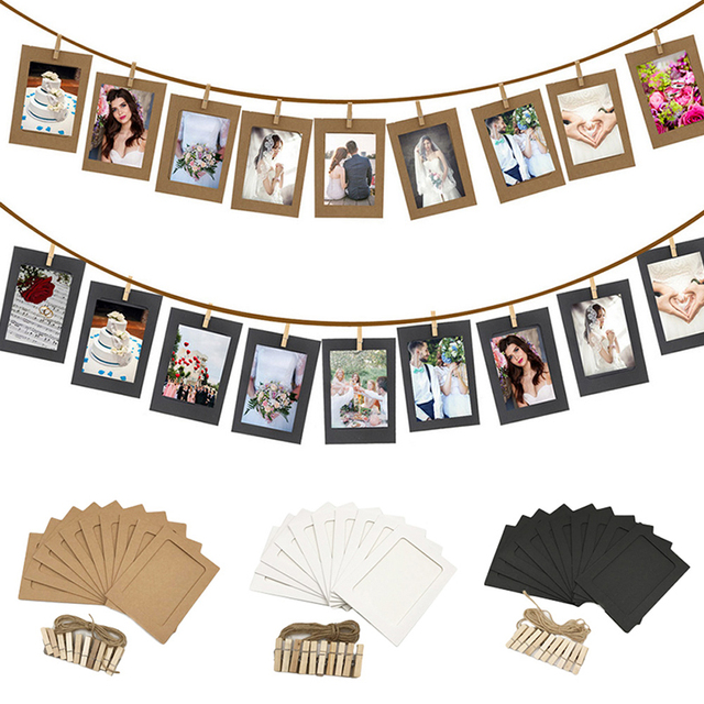 10 piezas DIY colgante de fotos de papel de pared Marco de Halloween decoración de la boda despedida de soltera fiesta de año nuevo de Navidad decoración suministros