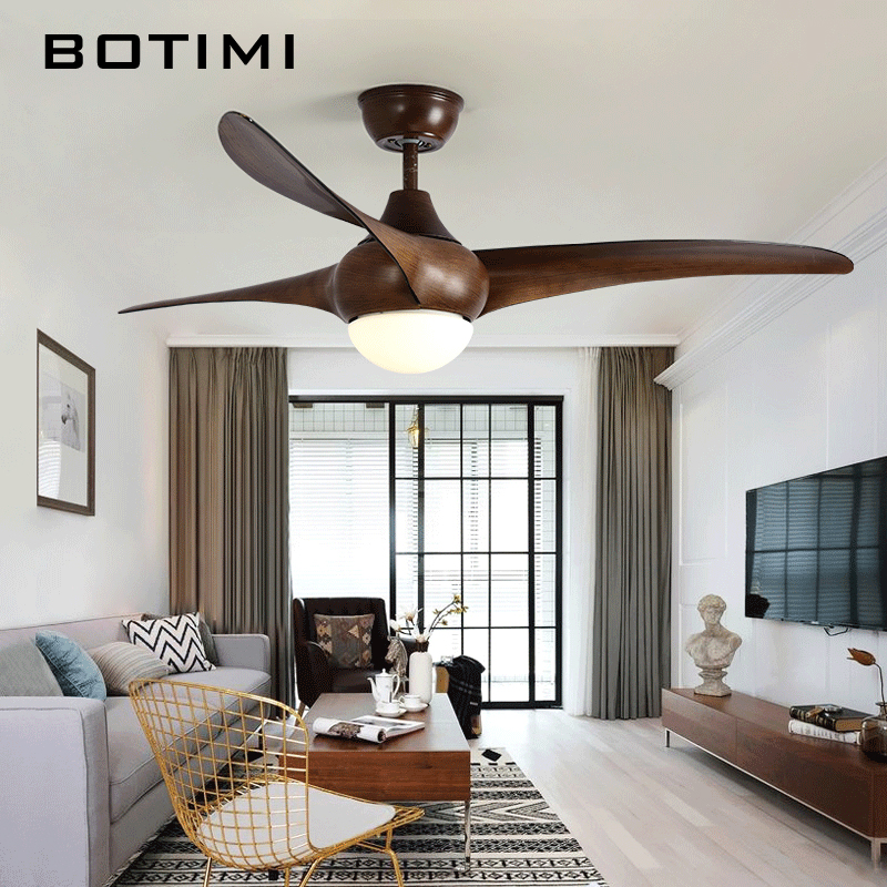 Botimi Brown Ceiling Fan AC 220V Fans With Lights Remote Modern Cooling Fixtures For Living Room Home LED Lamps