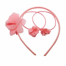 Wholesale 3 pcs/lot chiffon petal elastic hair bands&hairbands beautiful pink flower hand-made hair accessories for girls linlin indian hair weave bundles loose wave 3 bundles with lace closure 4 pcs lot deal 27 human hair bundles hair rollers