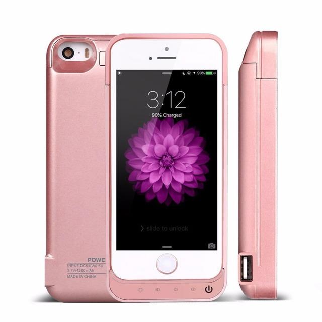 Carregador portátil 4200 mah caso poder telefones celulares carregador portatil recarregável bateria externa power bank para iphone 5s 5 5c