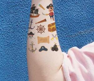 Image 4 - 10 sheets/set kawaii kids 해적 문신 해적 스티커 만화 파티 용품 장식 어린이 파티 호의