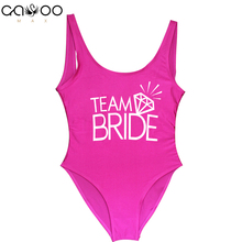Team BRIDE Letter Print Diamond Pattern One Piece Swimsuit Women Swimwear Sexy Wedding Bachelor Party Bathing Suit Swimsuits