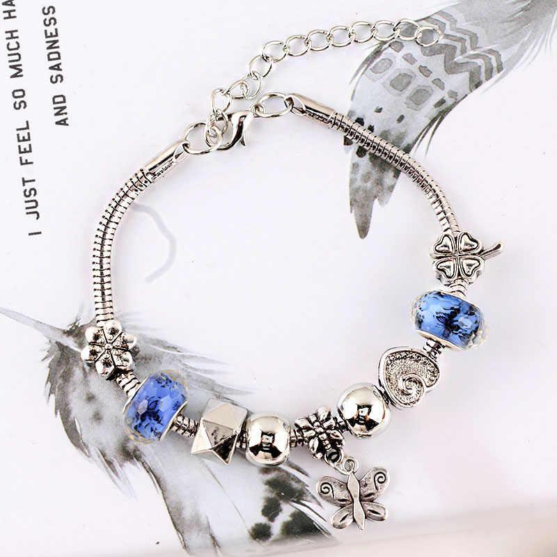 Przyjaźń motyl koniczyna wisiorek pani bransoletka z kryształkami urok kształt serca miłość bransoletki nadaje się dla kobiet luksusowa biżuteria