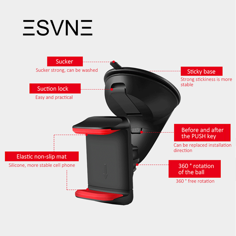 Image 3 - ESVNE Universal Car Phone holder for Mobile phone holder windshield mount Cell phone holder Car Dashboard Smartphone Phone stand-in Phone Holders & Stands from Cellphones & Telecommunications