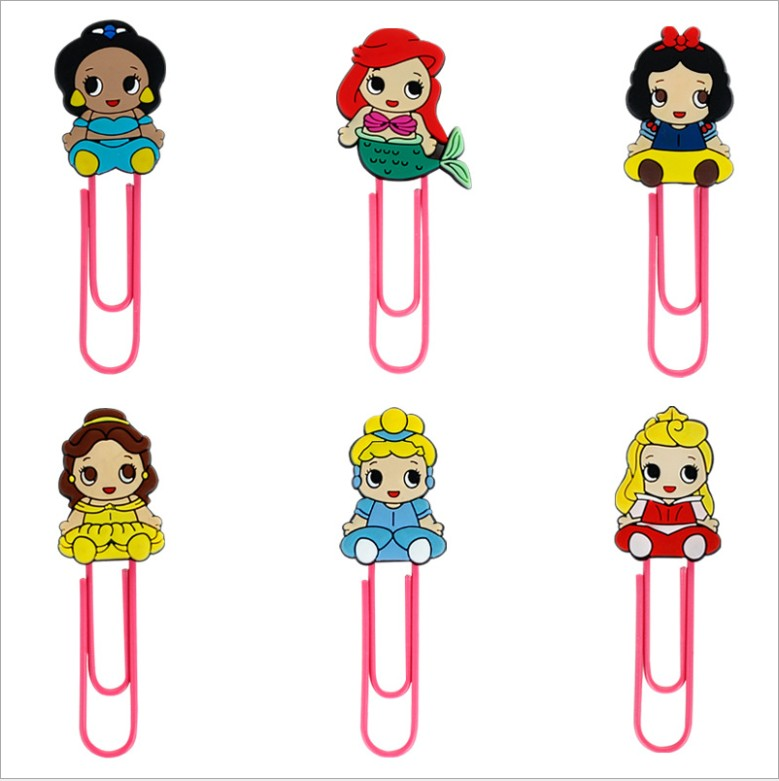1pcs Cartoon PVC Snow White Bale Cinderlla Princess Series  Bookmark Paper Clips Student Stationery Memo Clip Kids Toy Gift