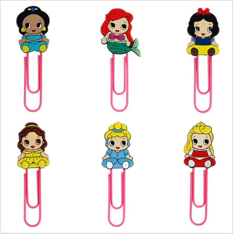 1pcs Cartoon PVC Snow White Bale Cinderlla Princess Series  Bookmark Paper Clips Student Stationery Memo Clip Kids Toy Gift