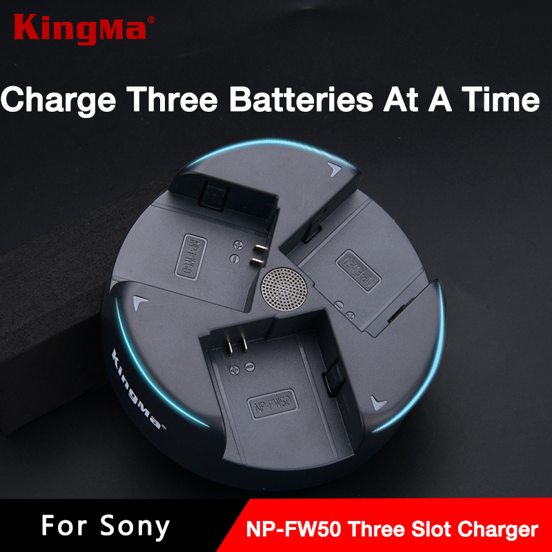 Kingma Three Slot Travel Camera Charger For Sony NP-FW50 Batteries a6300 a6500 a7s a7s2 a7r a7r2 a7m2 NEX-7 6 5T 5R A7 a5000 np fw50 8000mah camera external power for sony nex 5r nex 7 a55 a7r a7m2 a6500 nex 6 smartphone external mobile power battery