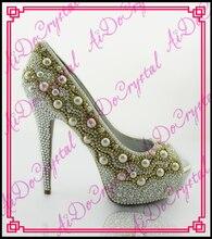 Aidocrystal sommer schuhe edle königlichen weißen perle peep toe high heels stiletto schuhe sexy high heels abendschuhe