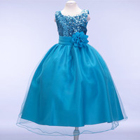 10 colors FASHION GIRL DRESSES PAILLETTE FLOWER BELT NET VEIL DRESSES GIRL PRINCESS DRESSESLP 55