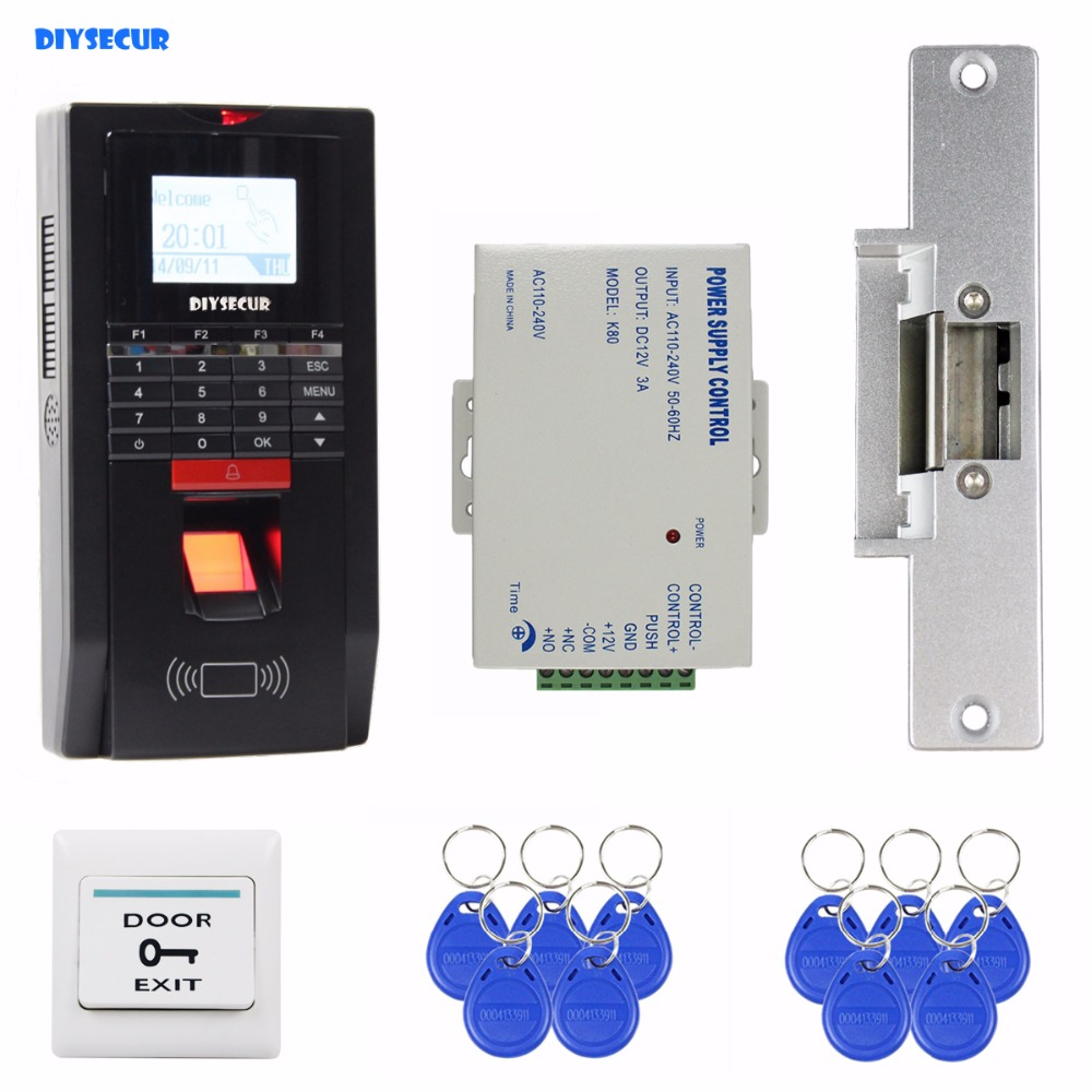 DIYSECUR Fingerprint Id Card 125KHz RFID Reader Password Keypad Door Access Control System Kit Strike Lock For Office / House diysecur magnetic lock 125khz rfid waterproof metal password keypad id card reader door access control system kit w1