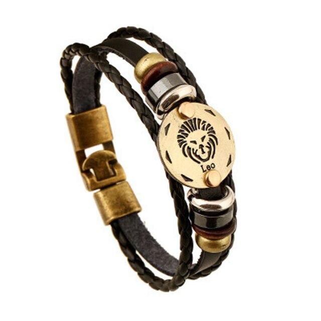 Drop shipping 12 Constellations Jewelry Fashion Leo Bracelet length19 cm to 25cm High Quality Leather Bracelet B18204