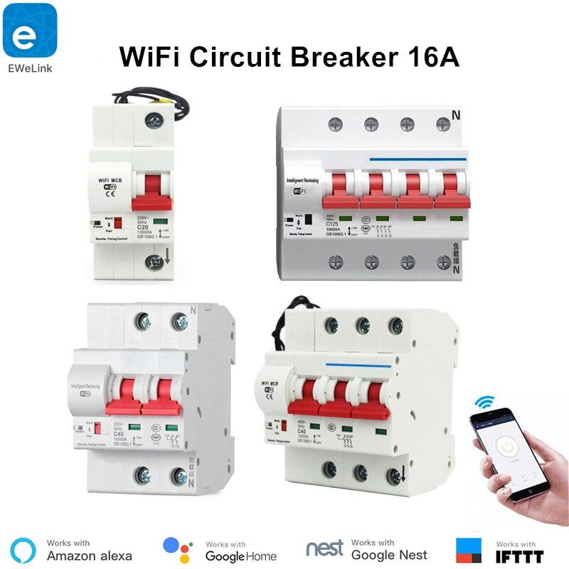 EWeLink 16A Smart WiFi disjoncteur petit circuit Protection Alexa Echo Google Maison Compatible télécommande WiFi Commutateur