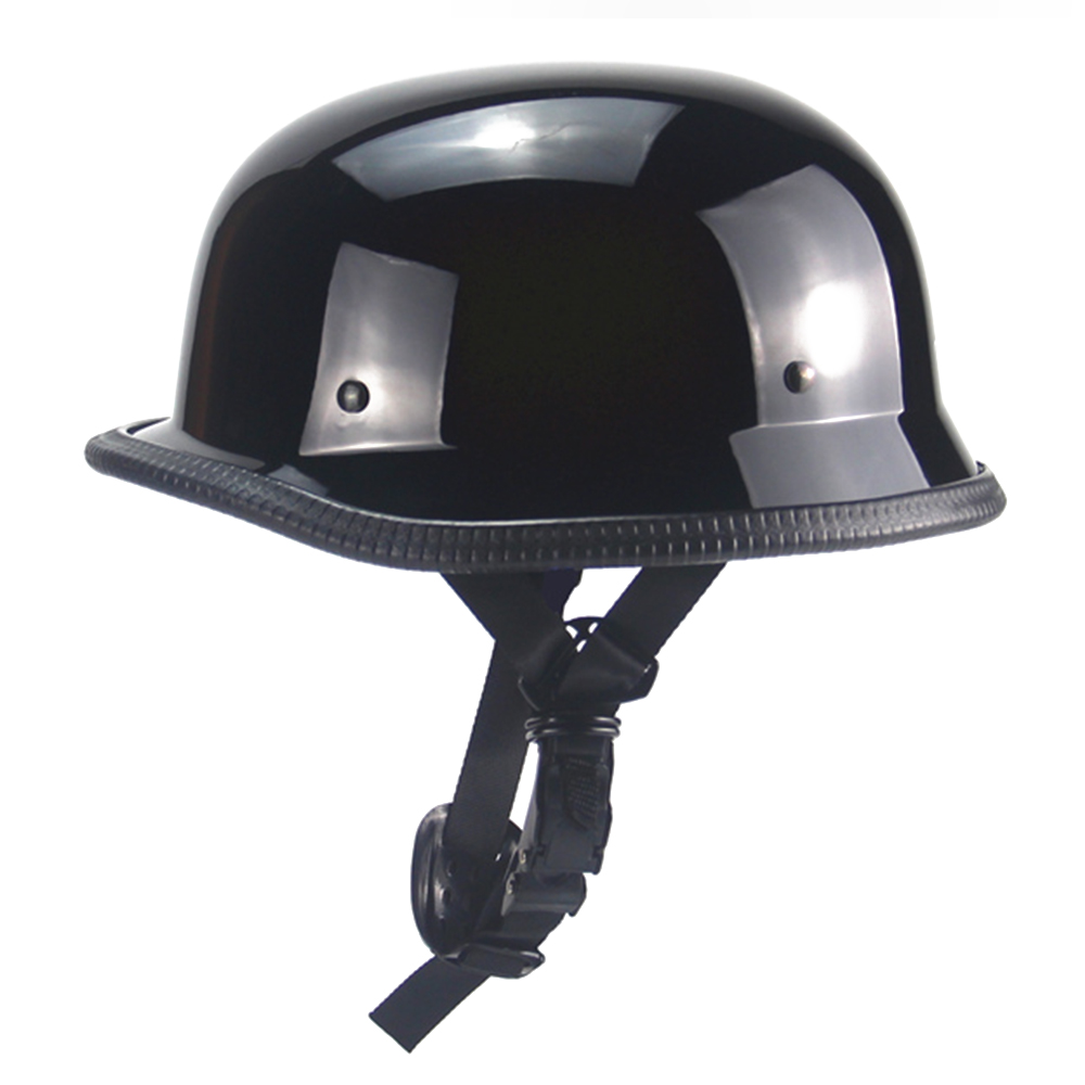 New Gloss Black German Style Motorcycle Helmet Retro Vintage Half Helmet Scooter Chopper Cruiser Touring Casco Moto Helmet DOT