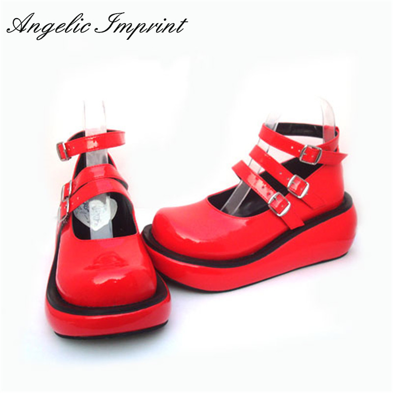 Japanese Harajuku Lolita Cosplay Girls Gothic Punk Red Patent Leather Wedge Shoes