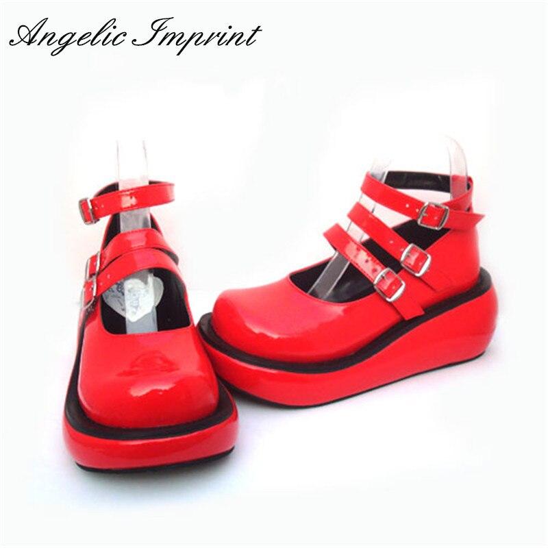 اليابانية المتناثرة لوليتا تأثيري الفتيات القوطية الشرير الأحمر براءات الاختراع والجلود حذاء بكعب ويدج-في أحذية نسائية من أحذية على  مجموعة 1
