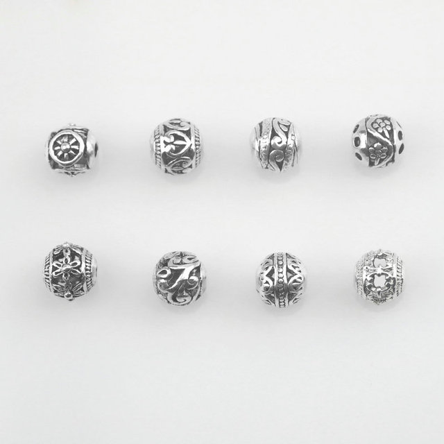 8mm Silver Beads European Charms Round Er Metal Ball Diy Beaded Bracelets