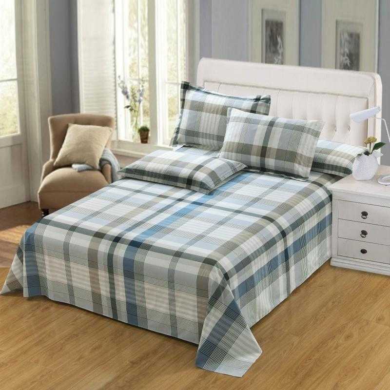 100 Cotton Soft Flat Sheet Twin Queen King Size Bed Set Single