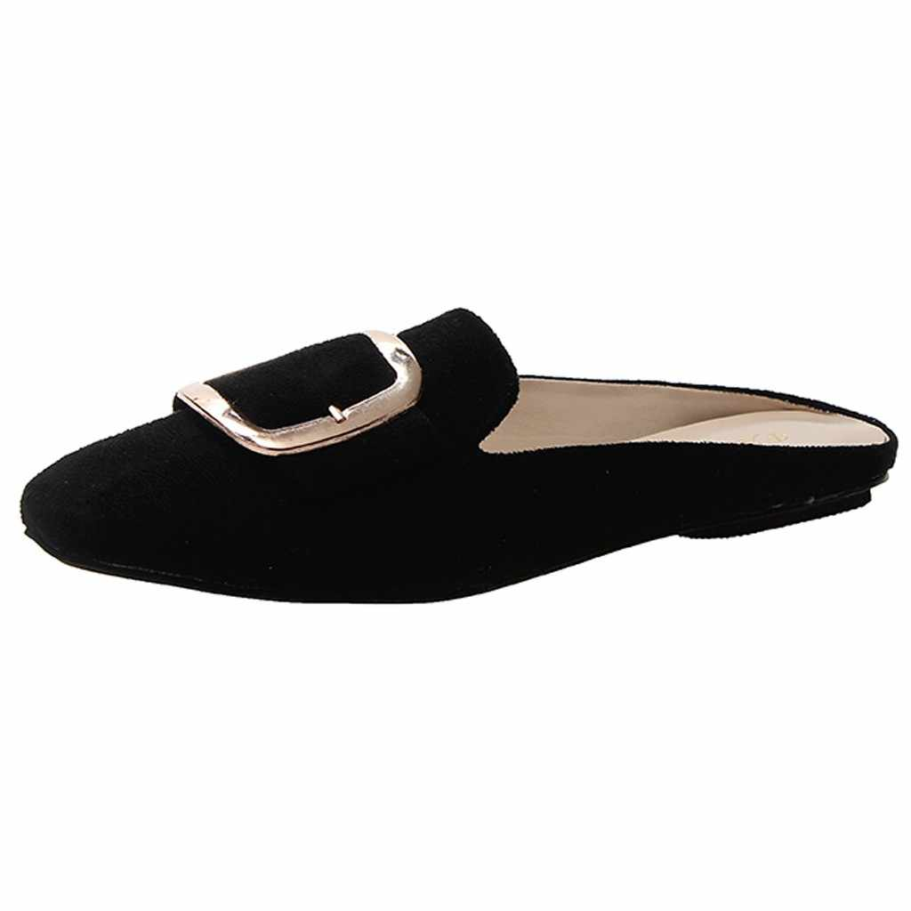 2019 de las mujeres de la marca zapatillas de mujer plana zapatos casuales Slip en diapositivas hebilla mulas cuadrado del dedo del pie bajo tacón hebilla mocasines Flip sandalias