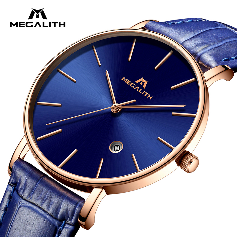 MEGALITH Men Watch Sport Waterproof Date Analogue Wrist Watch Mens Business Casual Clock Blue Leather Gents Watches Montre Homme megalith quartz watches mens waterproof chronograph calendar silver stainless steel wrist watch gents sport business men s watch