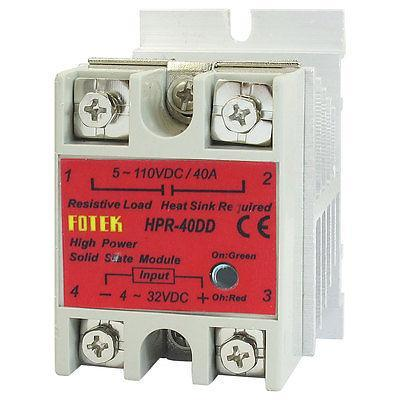 LED Indicator Solid State Relay Module HPR-40DD DC 4-32V 5-110V w Heat Sink