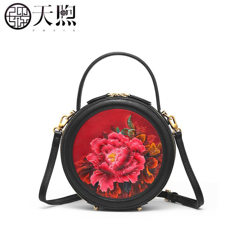 Pmsix nueva bolsa pequeña femenina 2019 nueva bolsa de mensajero de moda bolso redondo retro pequeña bolsa de hombro - 2