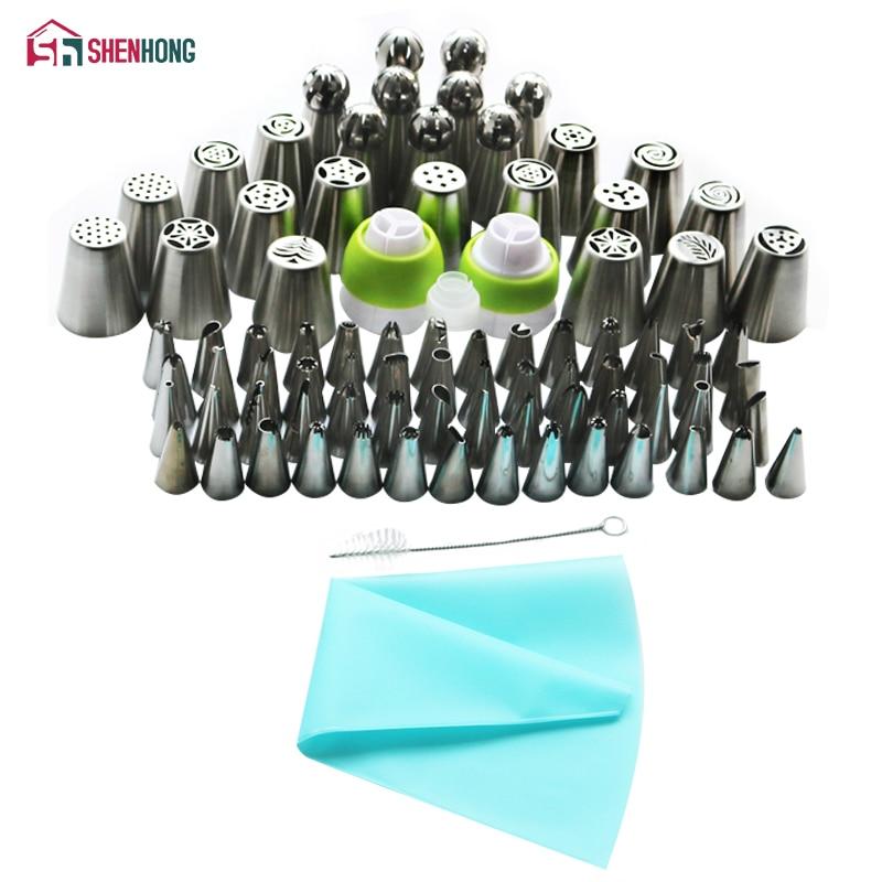 SHENHONG 87 Pz/set Russo Ugelli In Silicone Bag A tre Colori Accoppiatore Icing Piping Punte Rosa Fiore Foglia Cupcake decorazione di Una Torta