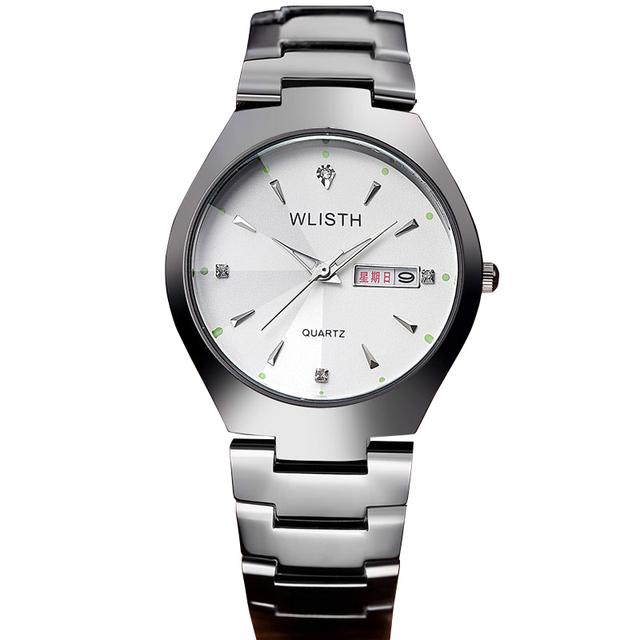 WLISTH 2016 Moda Relógio De Quartzo Dos Amantes Das Mulheres dos homens relógio de Pulso Relogio masculino Relojes Relógio de Aço Completa Data 30 M À Prova D' Água