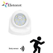 Lámpara nocturna PIR con Sensor de movimiento de rotación de 360 grados, luz nocturna con batería, para pared del pasillo, armario, garajes, pasillo, 9 led