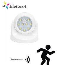9 LEDs 360 Grad Rotation Motion Sensor PIR Nacht Licht Batterie Betrieben Korridor Wand Nacht Lampe Für Schrank Garagen Flur