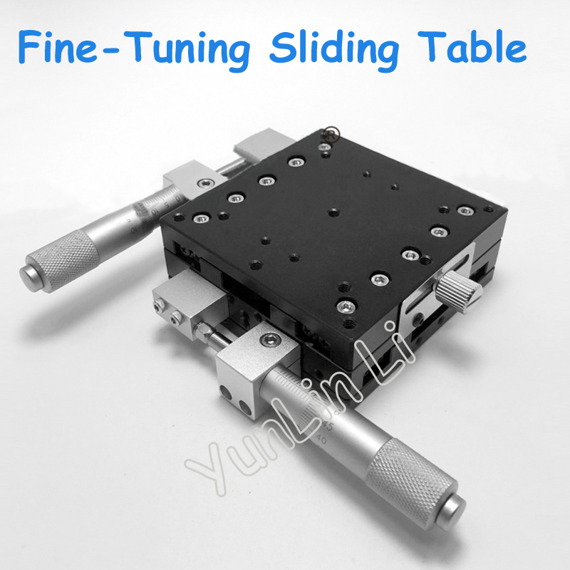 XY Axis Fine-Tuning Sliding Table Crossguide Manual Sliding Platform XY Axis Displacement Platform LY90-LM lgy40r xy axis manual displacement platform micrometer sliding stage 19 2n 40mm