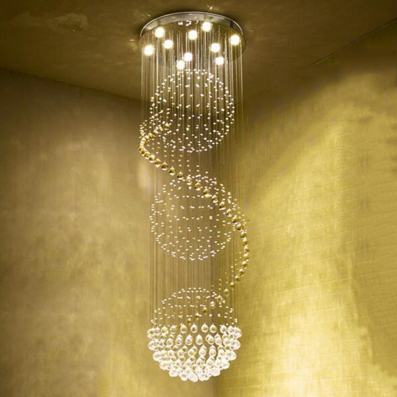 Image 3 - Modern Long LED Spiral Living Crystal Chandeliers Lighting Indoor Fixture for Staircase Stair Lamp Showcase Bedroom Hotel Hall-in Chandeliers from Lights & Lighting