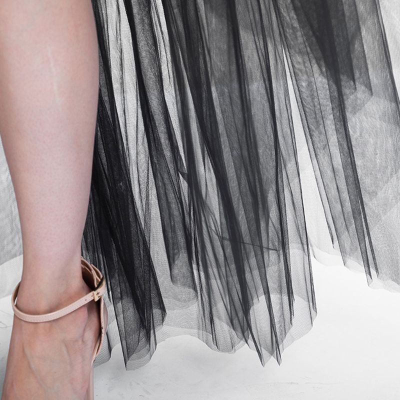 Women Maxi Dovetail Tutu Skirt Layered Tulle Asymmetric High Low Dance Petticoat