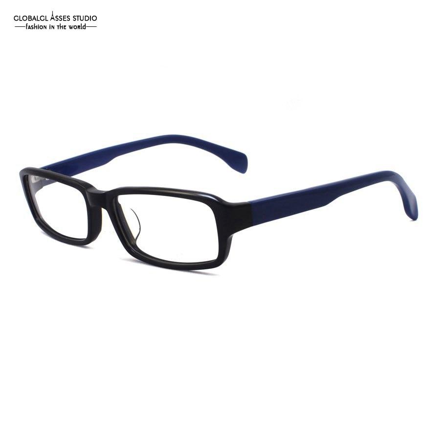 ⑦Classic rectangular lente acetato Gafas Marcos negro sobre azul ...