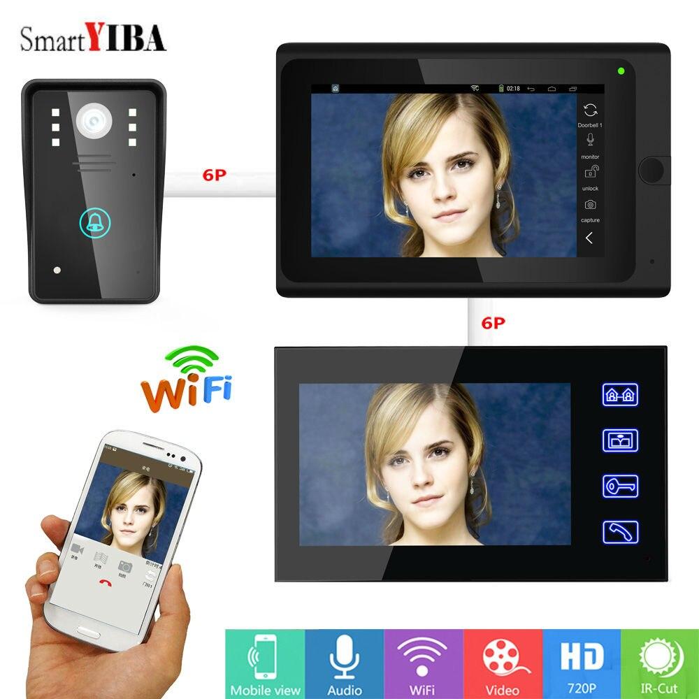Smartyiba 7 HD WI FI смарт Видео домофонов приложение Управление Беспроводной WI FI Интерком системы с проводной Сенсорный экран Видеодомофоны Набор