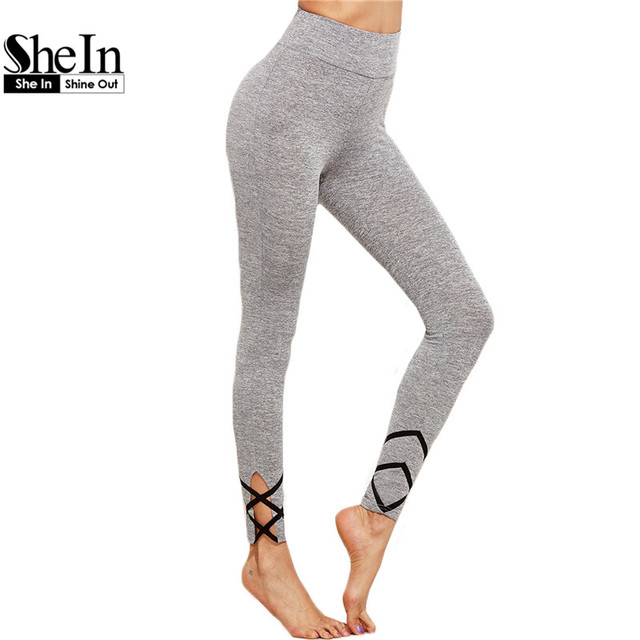 SheIn Womens Bottoms 2016 Grey Workout Clothes for Women Crisscross Marled Knit Fitness Women Long Pants Casual Leggings
