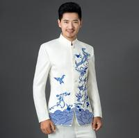 (Jacket+Pant) Hot Men's Slim Groom Tuxedos New Chinese style blue and white porcelain Embroidery Fashion Suits Dress Men costume