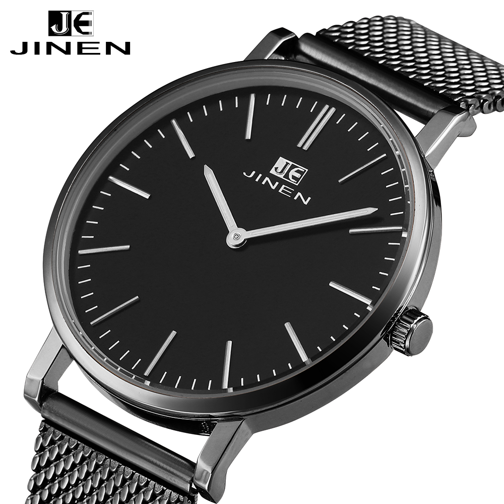 JINEN Men Fashion Stainless Steel Band Watch Ultra-thin Case Elegant Classic Luxury Luminous Analog Business Quartz Wristwatch iw 8758g 3 men s and women s quartz watch fabric classic canterbury stainless steel watch with multi color striped band